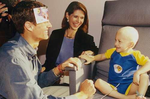 Adam Petty visits a sick child in the hospital