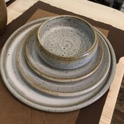 Winter white pottery plates created by Alexa Modderno of Moddware in Seagrove NC