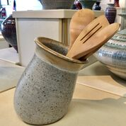 Winter white utensil holder created by Alexa Modderno of Moddware in Seagrove NC