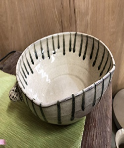 Winter white pottery bowl created by Potts Pottery in Seagrove NC