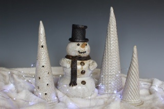 Pottery Snowman and Christmas Trees at Thomas Pottery