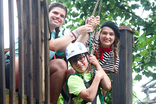 Child ziplining at Victory Junction Camp
