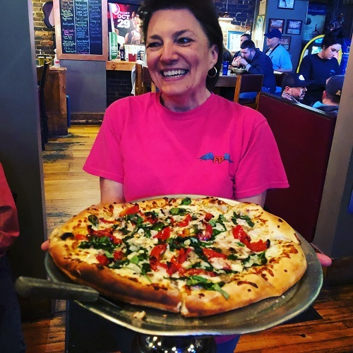 Vegetable pizza at The Flying Pig in Asheboro, North Carolina