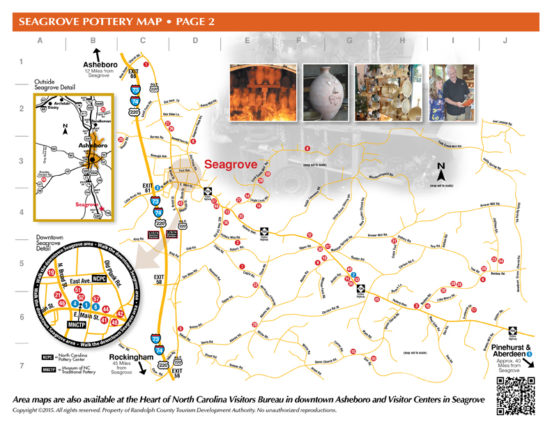 SEAGROVE POTTERY MAP - Potteries within a 5 mile radius of Downtown Seagrove