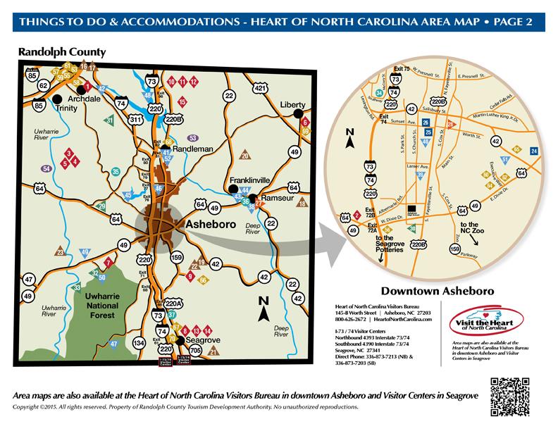 THINGS TO DO - HEART OF NORTH CAROLINA AREA MAP