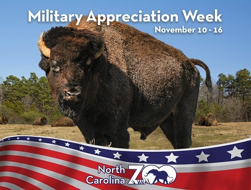Military Appreciation Week at the North Carolina Zoo Nov 10 - 16, 2018